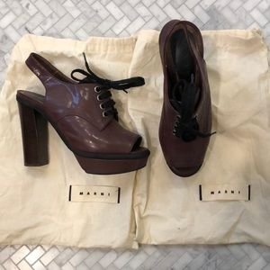 Marni Burgundy Open Toe Lace Up Oxford Heels, 37.5